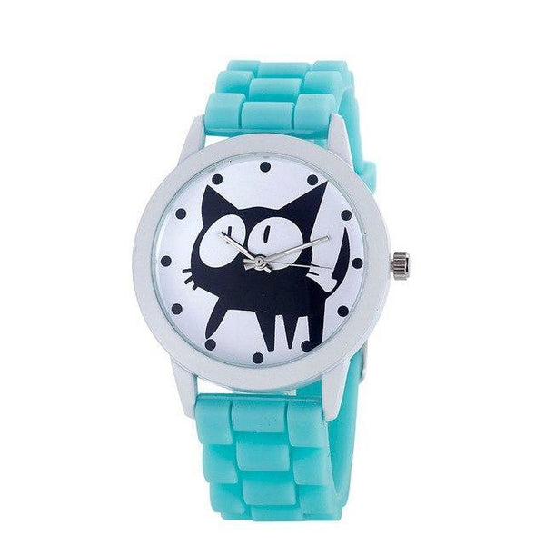 Chat J'adore montre Bleu ciel Montre à Quartz Cartoon Motifs Chat