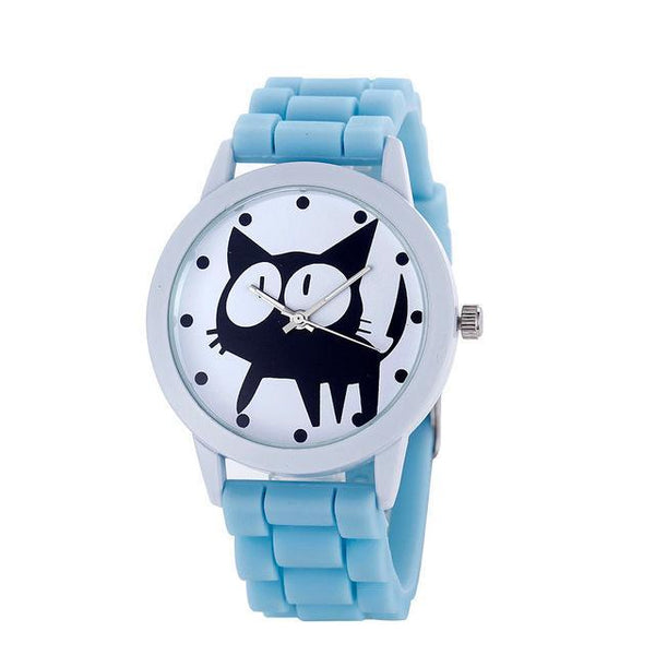 Chat J'adore montre Bleu clair Montre à Quartz Cartoon Motifs Chat