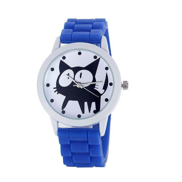Chat J'adore montre Bleu Montre à Quartz Cartoon Motifs Chat