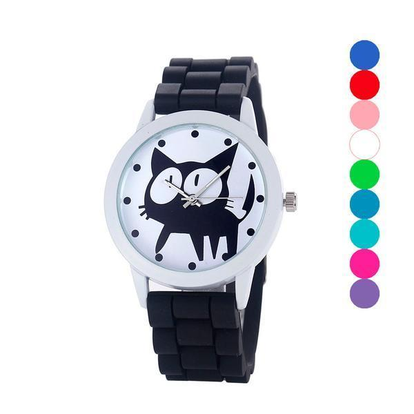 Chat J'adore montre Noir Montre à Quartz Cartoon Motifs Chat