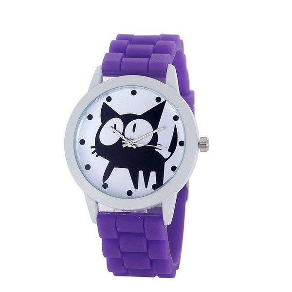 Chat J'adore montre Pourpre Montre à Quartz Cartoon Motifs Chat