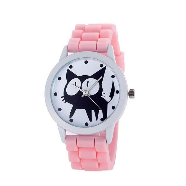 Chat J'adore montre Rose Montre à Quartz Cartoon Motifs Chat