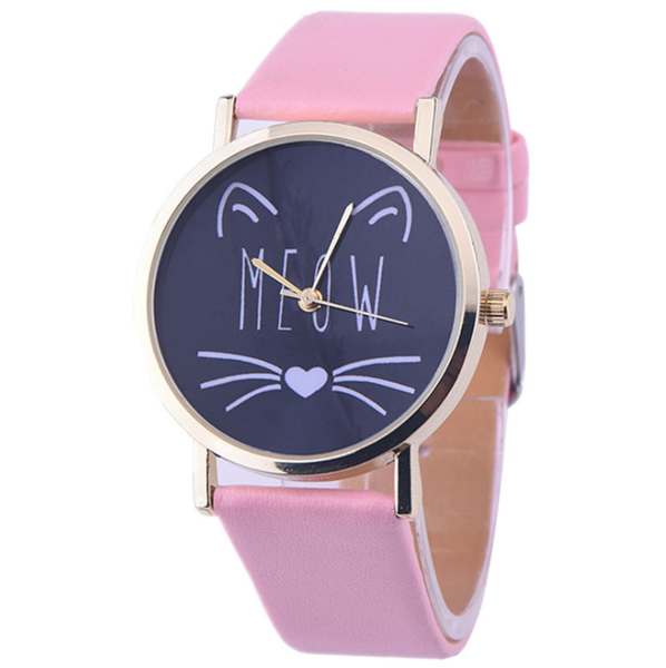 "Chat J'adore montre Rose Montre à Quartz Joli Motif Chat ""MEOW"""