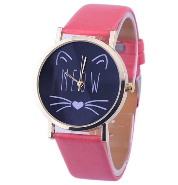 "Chat J'adore montre Rose Rouge Montre à Quartz Joli Motif Chat ""MEOW"""