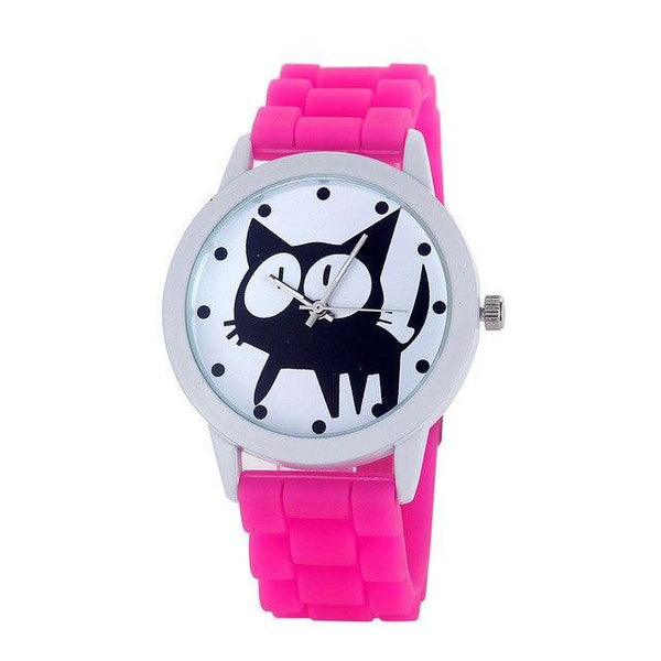 Chat J'adore montre Rose vif Montre à Quartz Cartoon Motifs Chat