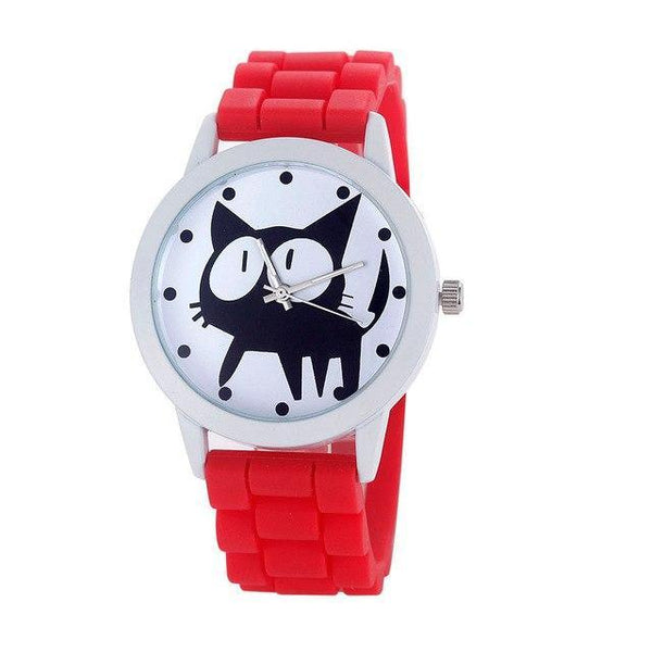 Chat J'adore montre Rouge Montre à Quartz Cartoon Motifs Chat