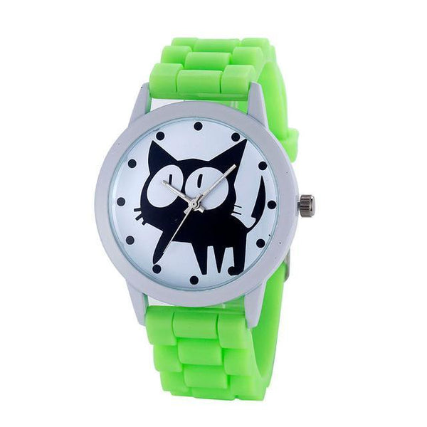 Chat J'adore montre Vert Montre à Quartz Cartoon Motifs Chat