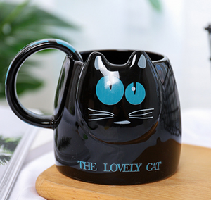Chat J'adore mug Noir Bleu Mug / Tasse THE LOVELY CAT