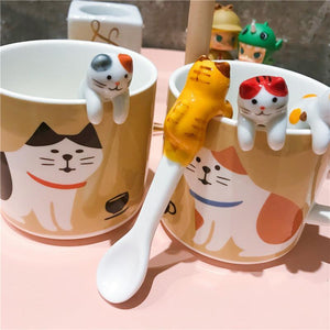 Chat J'adore mug Set 01 Adorable Ensemble 2 Tasses et 2 Cuillères Chat en Céramique