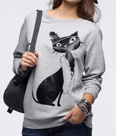 "Chat J'adore Sweat Gris / S Pull Femme ""Chat Classe"""