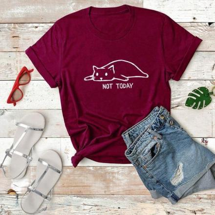 Chat J'adore T-shirt Bordeaux / M T-shirt Chat Not Today pour Femme