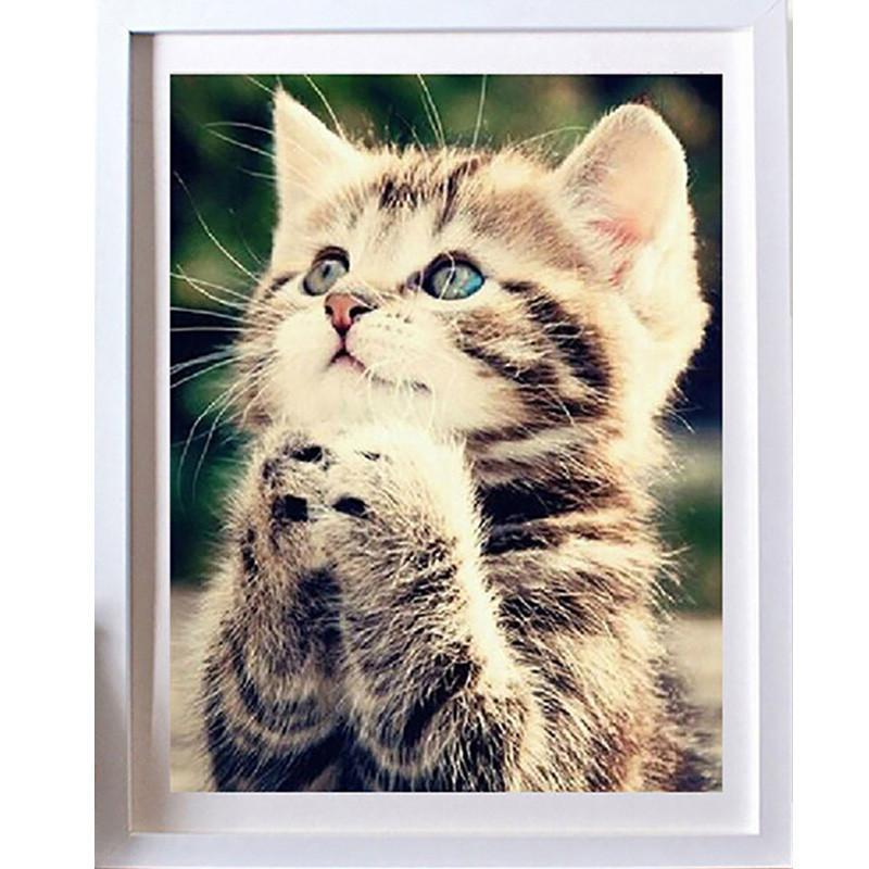 Chat J'adore toile Toile Chaton Scrapbooking sur Canevas - Diamond Painting