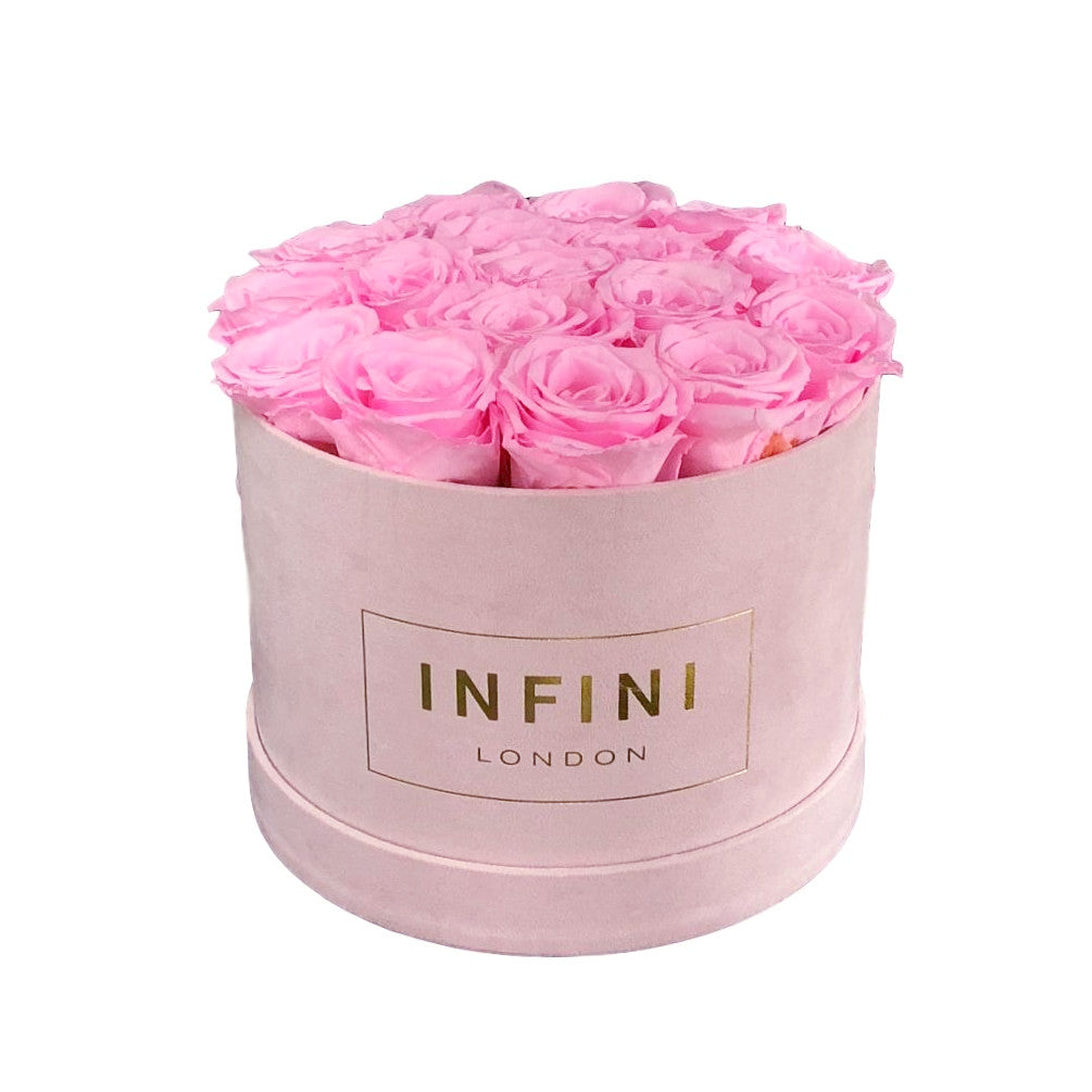 Original Round Box - Blush Pink Suede - INFINI roses that last a year