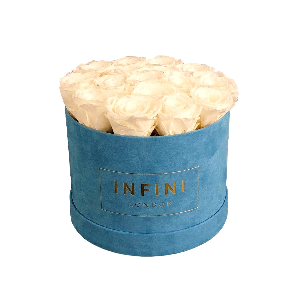 Original Round Box - Baby Blue Suede - INFINI roses that last a year