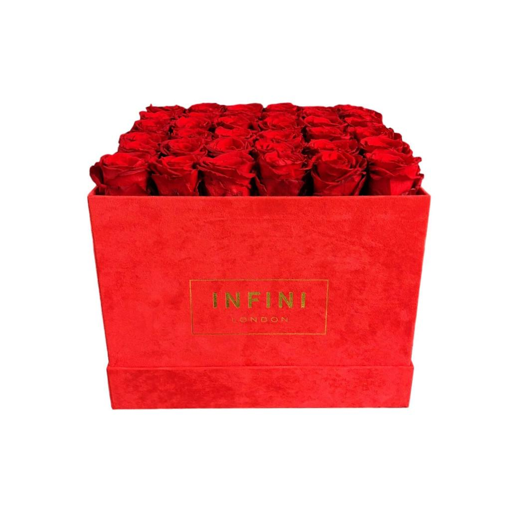 Large Square Box - Red Suede - INFINI roses that last a year