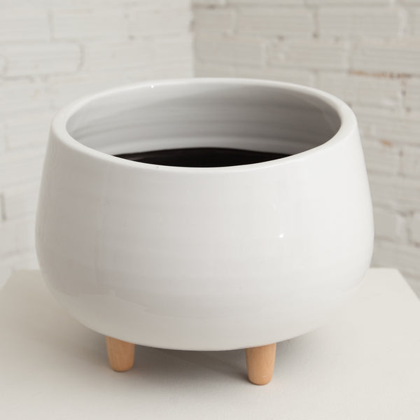 Small Round Ceramic Planter w/ Wood Feet
