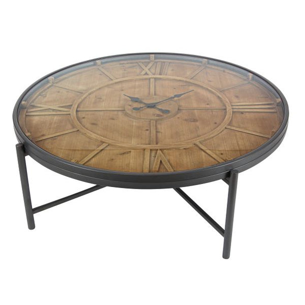 Wooden Clock Coffee Table