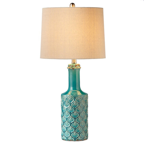 Turquoise Peacock Table Lamp