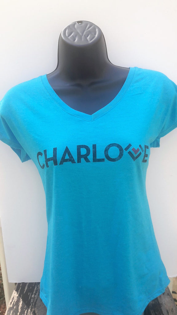 Ladies V-Neck Tri-Blend T Shirt -  Panther Blue