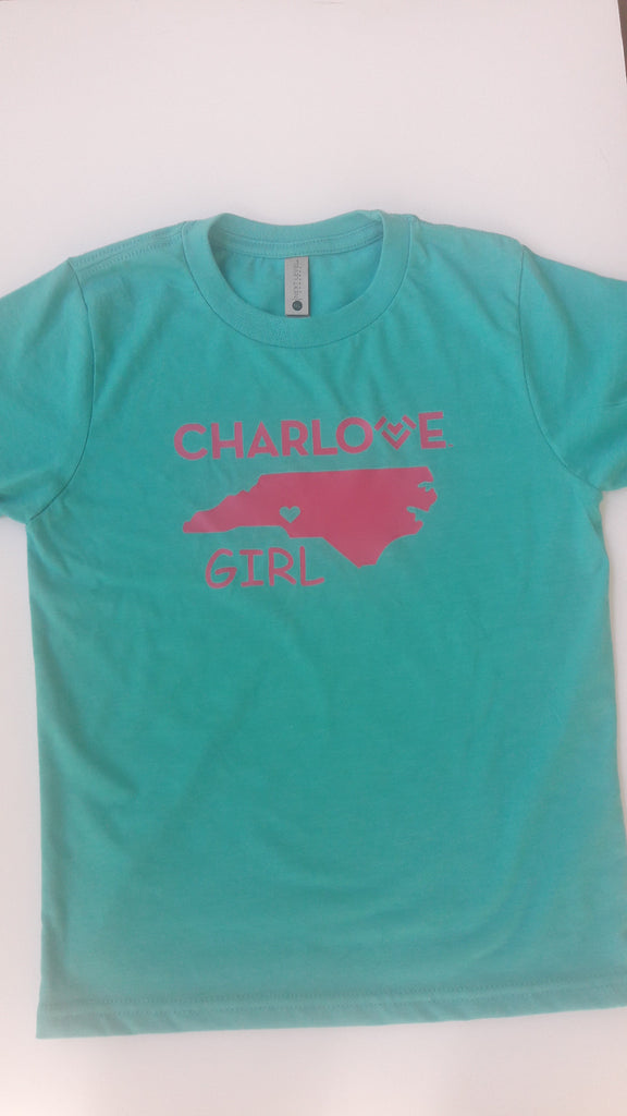 Charlove Girl - Tahini Blue State T -with Pink Logo