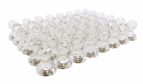 Bullseye Office - 48 Clear Magnetic Push Pins - Perfect Clear Magnetic Thumb Tacks for Fridge Magnets, Calendar Magnets, Whiteboard Magnets, and Map Magnets