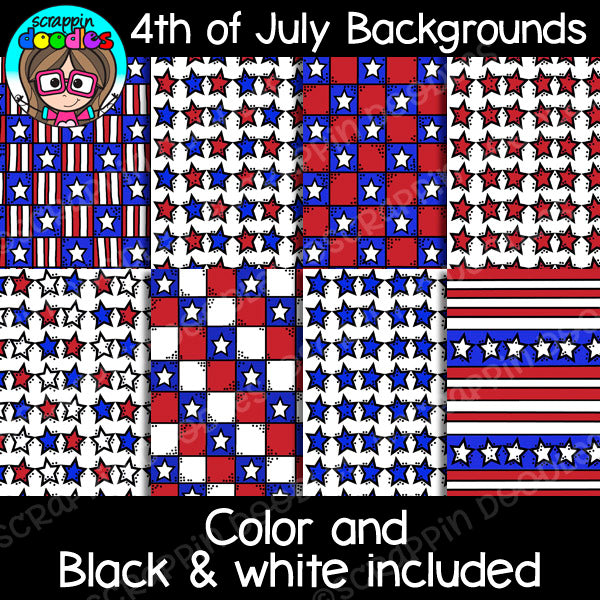 4th of July USA Backgrounds Clipart