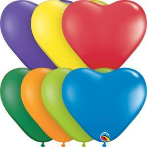 "6"" Qualatex Heart Carnival Assortment-100 Count, 6HQ, Qualatex, T. Myers Magic Inc. - T. Myers Magic Inc."