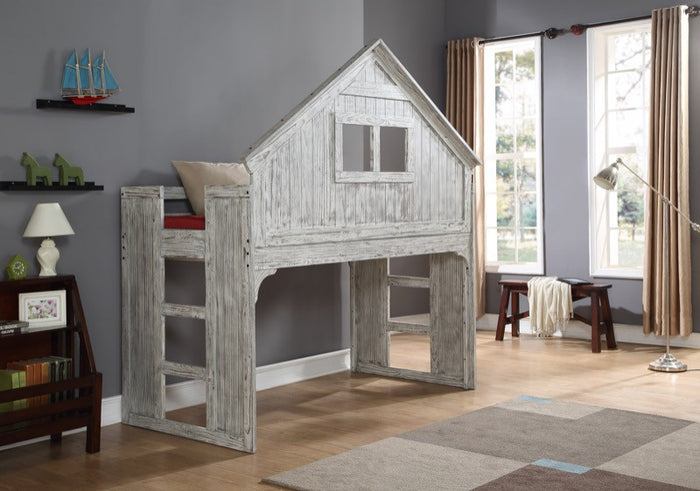 Donco Kids Club House Low Loft Bed Driftwood 007D