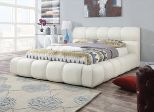 ACME Acacia Eastern King Bed Ivory PU - 25047EK-Panel Beds-HipBeds.com