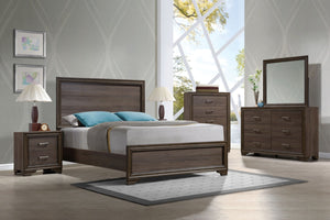 ACME Cyrille Queen Bed (Wooden HB) Walnut - 25840Q-Platform Beds-HipBeds.com
