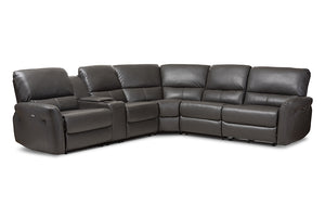 Baxton Studio Amaris Modern and Contemporary Grey Bonded Leather 5-Piece Power Reclining Sectional Sofa with USB Ports-Sectional Sofas-HipBeds.com