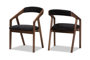 Baxton Studio Wendy Mid-Century Modern Black Velvet and Walnut Medium Brown Wood Finishing Dining Chair Set of 2-Dining Chairs-HipBeds.com