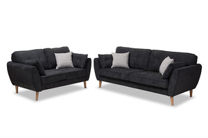 Baxton Studio Miranda Mid-Century Modern Dark Grey Fabric Upholstered 2-Piece Living Room Set Image 3