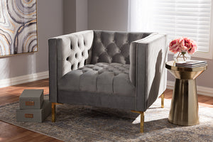 Baxton Studio Zanetta Luxe and Glamour Grey Velvet Upholstered Gold Finished Lounge Chair-Chairs-HipBeds.com
