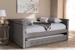 Baxton Studio Alena Modern and Contemporary Grey Fabric Upholstered Queen Size Daybed with Trundle Image 3