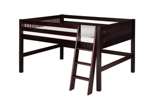 Camaflexi Full Low Loft Bed - Mission Headboard - Cappuccino Finish - C412F_CP-Loft Beds-HipBeds.com