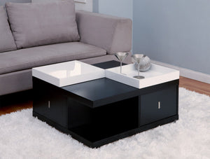 Furniture Of America Merlin Square Tray Top Coffee Table Black-Coffee Tables-HipBeds.com