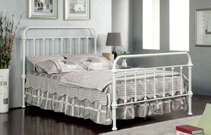 Furniture Of America Alesso Powder Coated Platfrom King Size Bed In Vintage White-Platform Beds-HipBeds.com