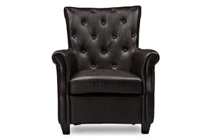 Baxton Studio Brixton Classic and Contemporary Brown Faux Leather Button-tufted Upholstered Armchair-Chairs-HipBeds.com