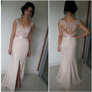 long bridesmaid dress,blush pink bridesmaid dress,Cheap bridesmaid dress,side slit prom dress,BD444