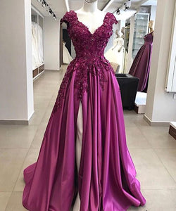 charming v-neck cap sleeves long prom dress side slit evening dress, HO222