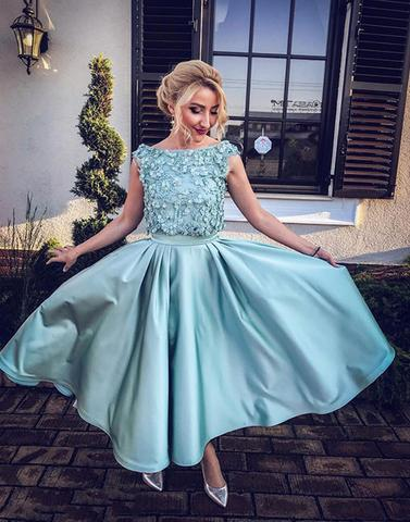 Cute blue two pieces short prom dress, homecoming dress