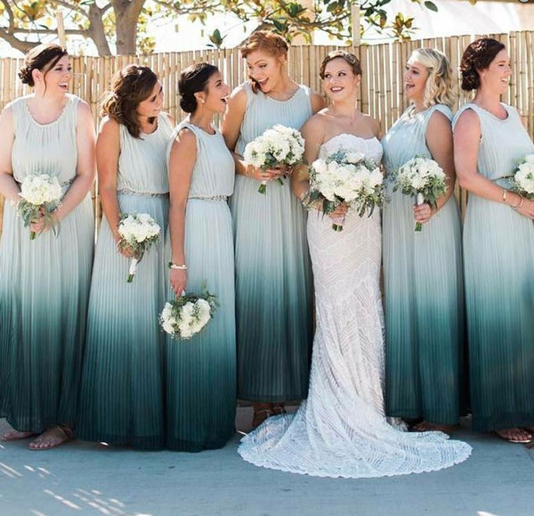A-Line Round Neck Long Ombre Chiffon Bridesmaid Dress with Pleat,BH91110