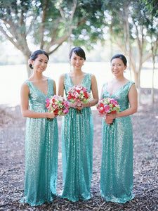 V Neck Sequined Long Bridesmaid Dress,BH91136