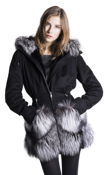 WOMEN's Cashmere Silver Fox Fur Coat