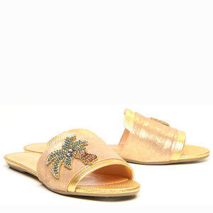Gold Embellished Leather Slides