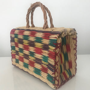 Tropical Woven Reed Handbag