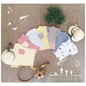 Short Sleeve Yellow & Grey Stripes T-shirt