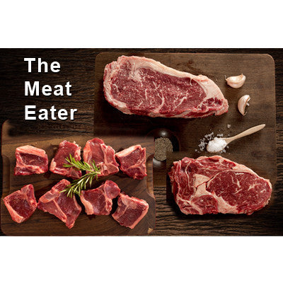 The Meat Eater - 2 x 300gm sirloin steaks, 2 x rib eye steaks, 8 lamb loin chops - Farmers Market Limited