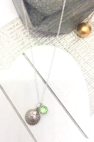 Seashell and Swarovski birthstone pendant, sterling silver
